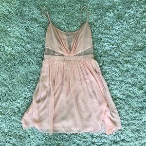 Pink Lace Spaghetti Strap Mini Dress